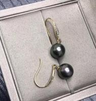 Free shipping 925 Sterling Silver Crochet charm pair of 10 11mm tahiti round black green pearl earring