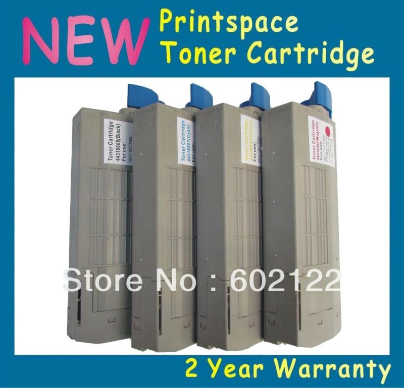 ФОТО 4x NON-OEM Toner Cartridges Compatible For OKI C711 C711n C711dn C711dtn C711cdtn 43866101 43866104 KCMY Free shipping