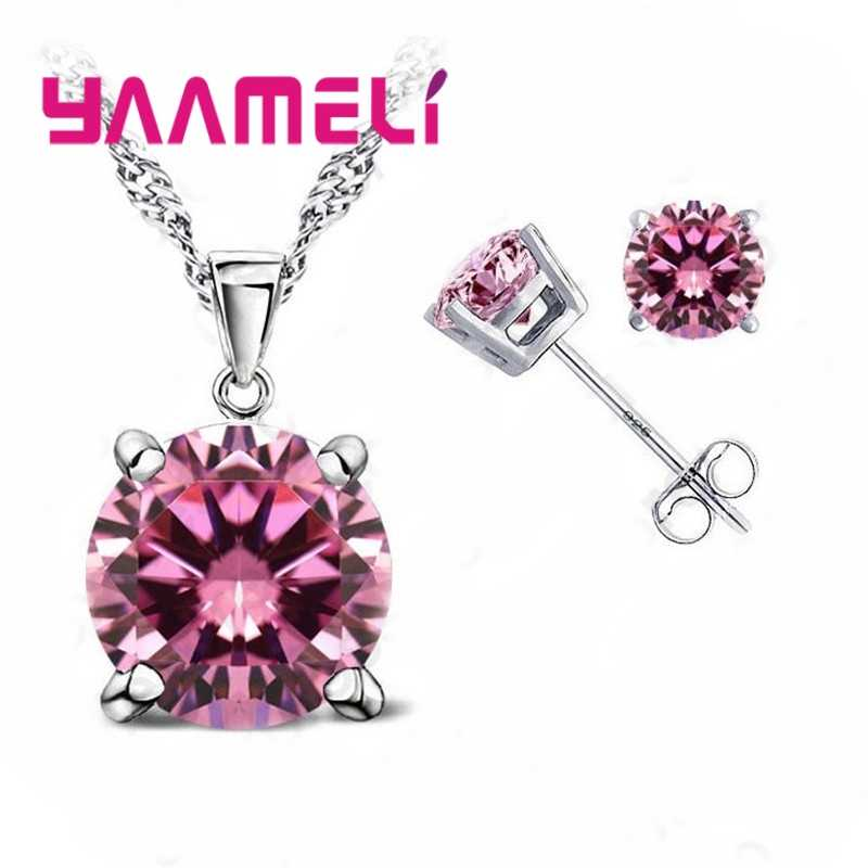 Classic Wedding Jewelry  Cubic Zirconia Good Quality 925 Sterling Silver Jewelry Sets Stud Earring Pendant Necklace Set