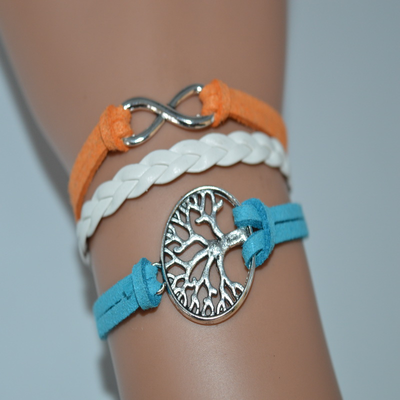 Colorful White Blue Orange Leather Suede Tree of Life Infinity Braided Women Men Bracelet Bangles European Fashion Charm Jewelry