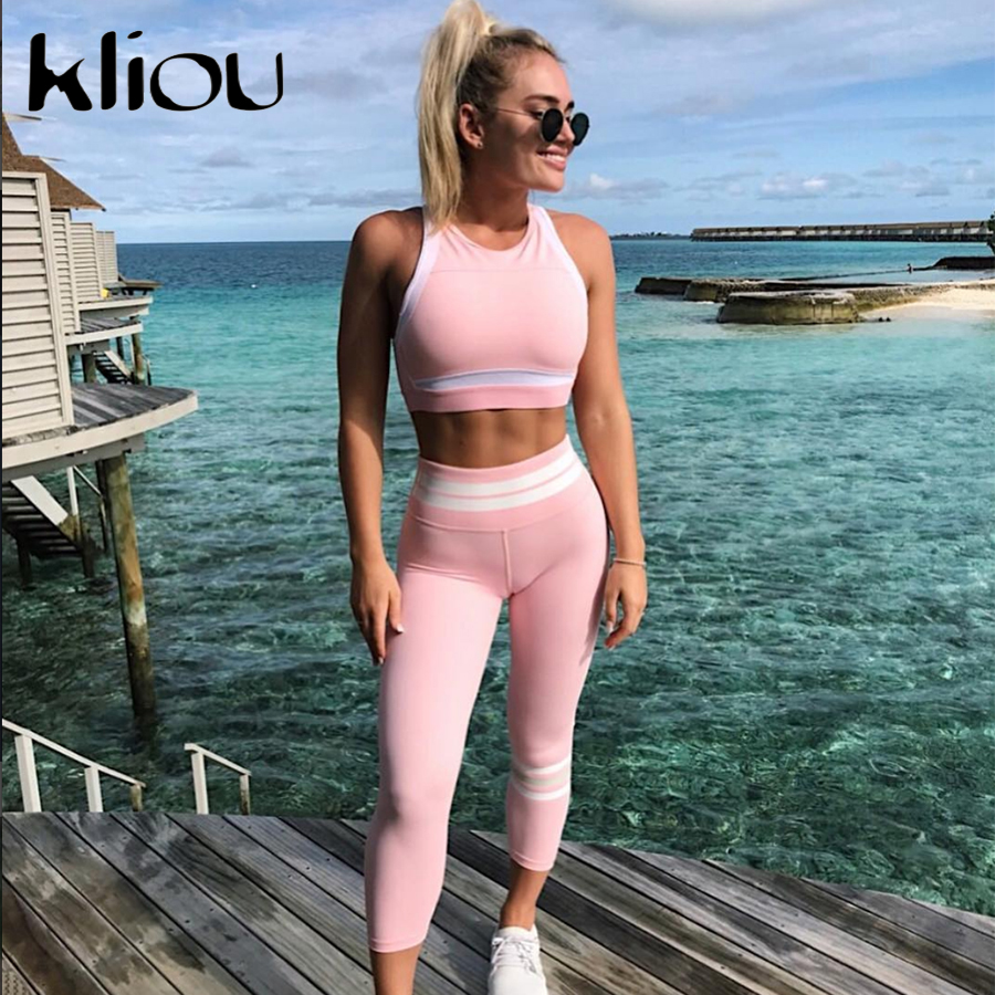 Kliou 2018 Women Two Pieces Suit Pink Patchwork Sporting White Striped Tops Fitness Elastic Slim Leggings Tracksuit 2 Piece Set