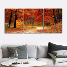 Laeacco Abstract Nordic 3 Panel Autumn Forest Posters and Prints Canvas Paintings Calligraphy Wall Art Home Living Room Decor