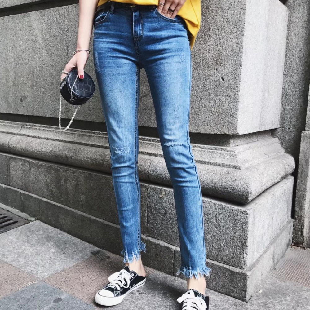 2017 Fashion Women Skinny Jeans big elastic Burr Slim Stretch Mid Waist Denim Ankle-length Pencil Pants Casual Trousers Feminina rosicil new women jeans low waist stretch ankle length slim pencil pants fashion female jeans plus size jeans femme 2017 tsl049