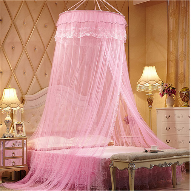 Pink Luxury palace mosquito net for double bed romantic lace princess bed netting students insect Summer & Pink Luxury palace mosquito net for double bed romantic lace ...