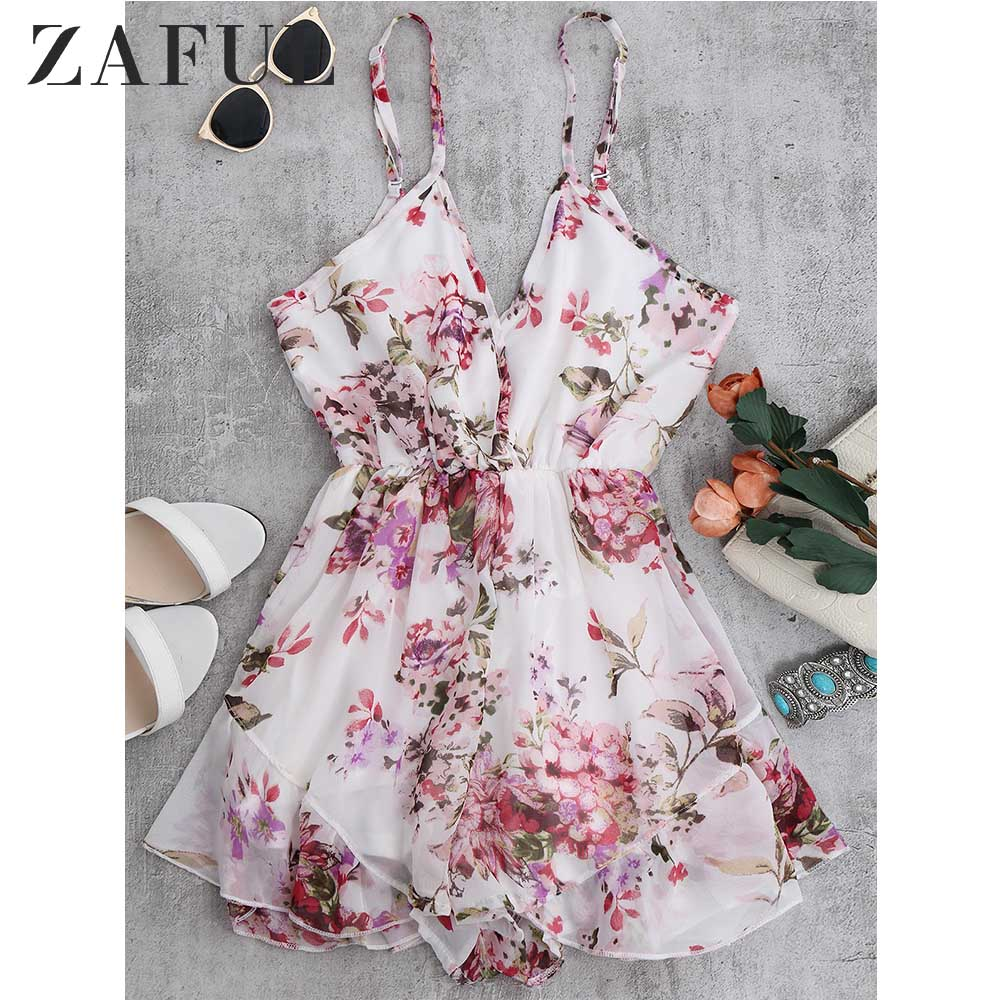 ZAFUL Summer Holiday Floral Print Women Romper Jumpsuit Sexy Flower Chiffon Cami Strap Beach Romper Playsuit Overalls 2019 New