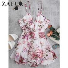 ZAFUL Summer Holiday Floral Print Women Romper Jumpsuit Sexy Flower Chiffon Cami