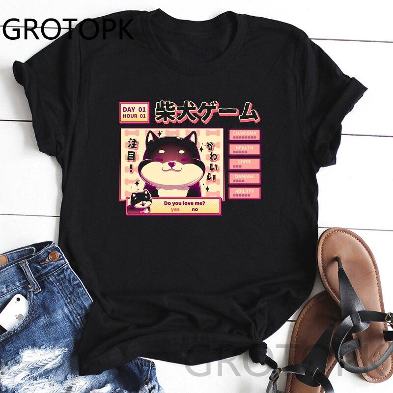 Women Harajuku Black T Shirt Kawaii Cute Shiba Inu Doge Printed Tshirt Korean Style Streetwear Tops Aesthetic Camisas Mujer Tee