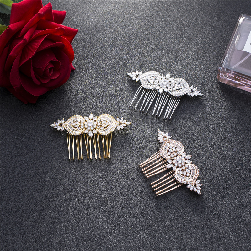 SLBRIDAL Luxury Prong Setting Vintage Clear Cubic Zirconia <font><b>Wedding</b></font> <font><b>Hair</b></font> Comb Bridal CZ <font><b>Headpiece</b></font> <font><b>Hair</b></font> <font><b>accessories</b></font> Bridesmaids image