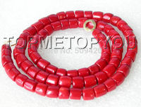 FREE SHIPPING>>>@ Wholesale>>> Excellent length 29 10mm column red coral beads necklace E1560
