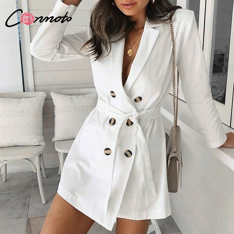 Conmotor 2019 Bow Long   Trench   Coat Elegant White   Trench   Coat Women Autumn Winter Coat Blazer Dress For Off Lady Solid
