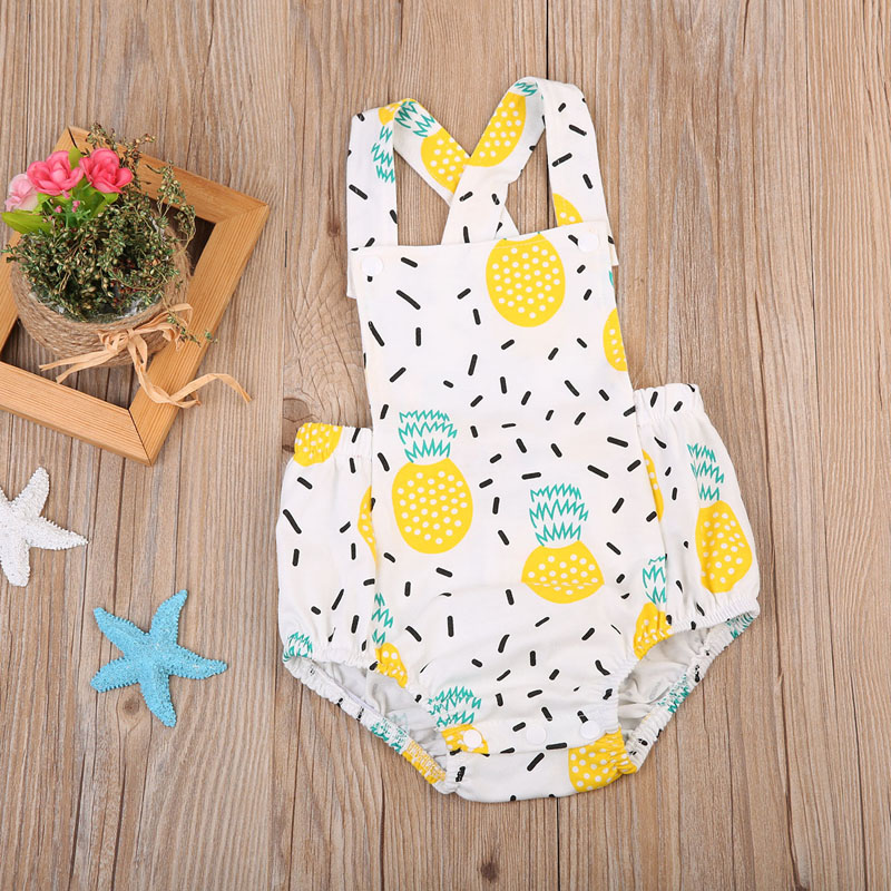 New Cute Newborn Baby Girl Clothes Print Pineapple Jumpsuit Sleeveless Romper Outfit Clothes Playsuit