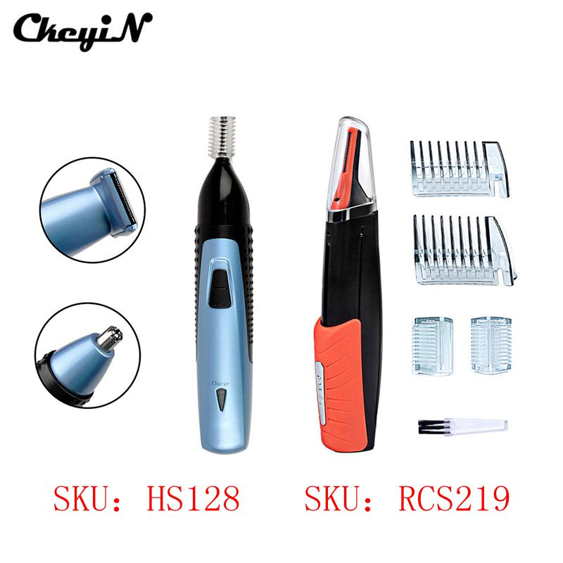 2pcs Beard Eyebrow Nose Shaving Trimmer Removal Ear Electric Shaver With LED Light Multifunction Rechargeable Hair Clipper S4243