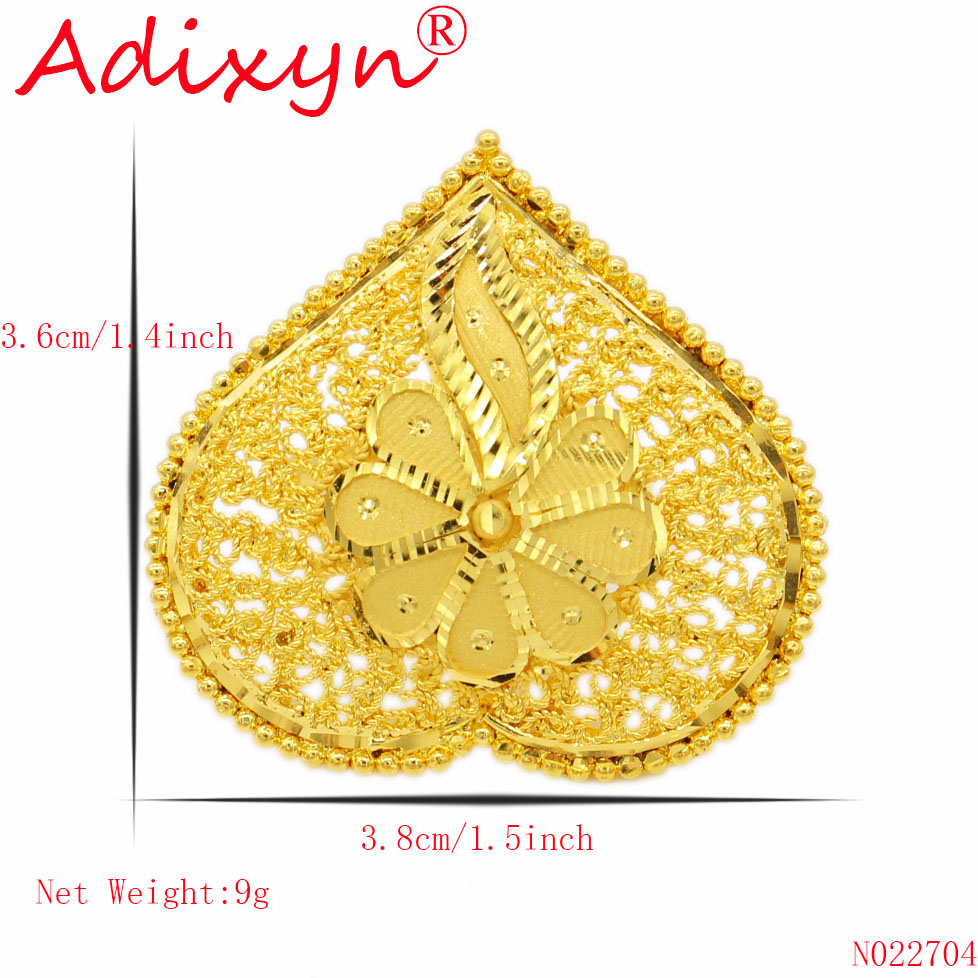 Adixyn Heart Shape Wide Ring for Women Girls Gold Color Trendy Delicate Engaement Jewelry African Ethiopian Arab Items N02274 in Engagement Rings from Jewelry Accessories