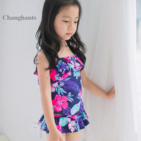 454618c7c497 2017 New Model Cute Baby Girl Swimwear Two Pieces With Flower Pattern 2 8Y Girls  Swimsuit