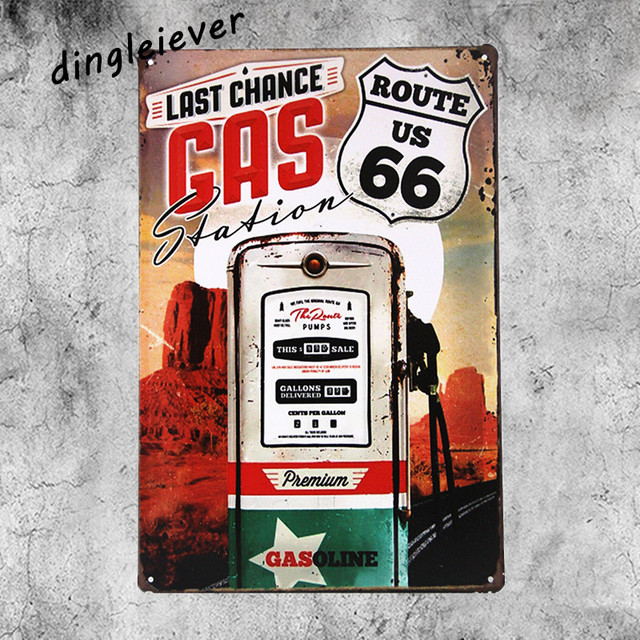 Gas Route66 Vintage Metal Sign Shabby Chic Man Cave Decorations Coffee Signs For Wall