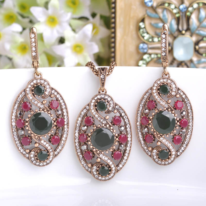 African-Beads-Jewelry-Resin-Drop Earrings For Women Turkish Vintage Long Earring Antique Gold Plated