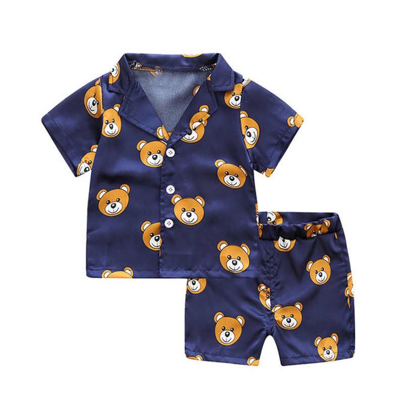 แขนสั้นเด็กเสื้อ + กางเกงขาสั้นชุดนอนชุดนอนเด็กเสื้อผ้าเด็กชุดเด็กชายหญิงการ์ตูนกวางพิมพ์ชุดชุด
