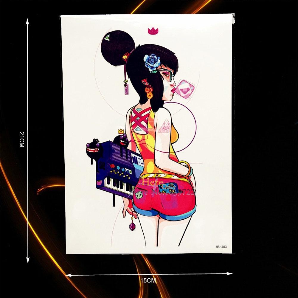 1PC Punk Girl Design Waterproof Flash Tattoo Body Art Painting Tempoary Tattoo Sticker Arm Leg Fake Tatoo Wall Stickers HHB-483