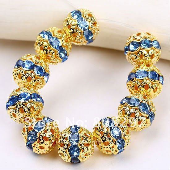 Shamballa Spacer Beads 8mm Blue Crystal Glass Handicraft Globose Beads,Gold Plated Pave Rhinestone Balls Gem Jewelry Findings