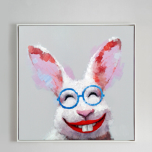 100% Hand Painted Modern Colorful Cartoon Rabbits Art Oil Painting On Canvas Wall For Living Rooms Home Decor