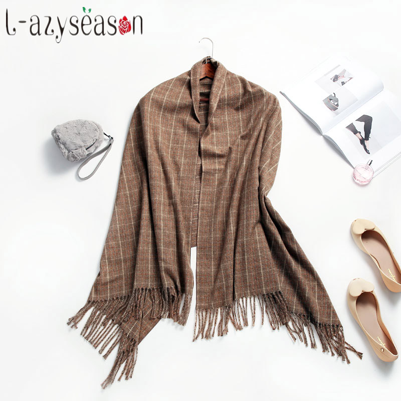 2019 New winter Cashmere   Scarf   Women Fashion Winter Warm Soft Shawls Pashmina Plaid Tassel Long   Scarves     Wraps   neckerchief female