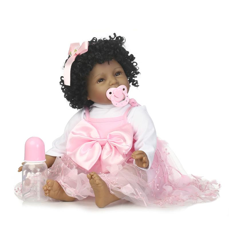 22inch 55cm Bebe Reborn babies Silicone Baby Reborn Dolls Smiling African American Black Baby Doll Curly Hair Toy Juguetes Gifts 22inch 55cm synthetic little wary african american long snow white wig for black women