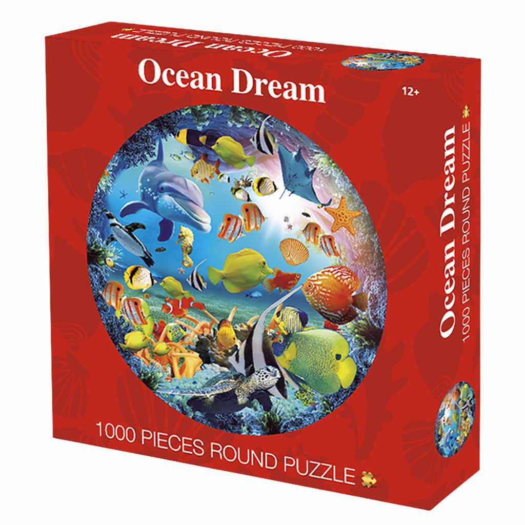 Детские игрушки головоломка круглая головоломка игрушка Продажа Круглый пазл мир динозавров 1000 капсулы упражнения руки и Мозги игрушки деревянные W513