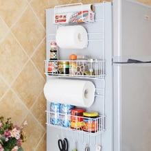 Складной холодильник для хранения многослойный боковой держатель кухонный Органайзер стойка для холодильника холодильник боковая полка бытовой подвесной крючок
