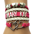 Drop Shipping Mary Kay Heart Bracelet- Fuchsia Velvet Leather Strap Multilayer Retro Cosmetics Women Jewelry Gift