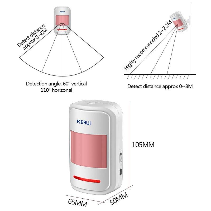Image 3 - Capteur de mouvement PIR Intelligent sans fil  KERUI 433Mhz, détecteur de mouvement, pour GSM PSTN système dalarme domestique sans antenne, infrarouge, Lot de 2 pièceskerui wirelessdetector sensorkerui detector -