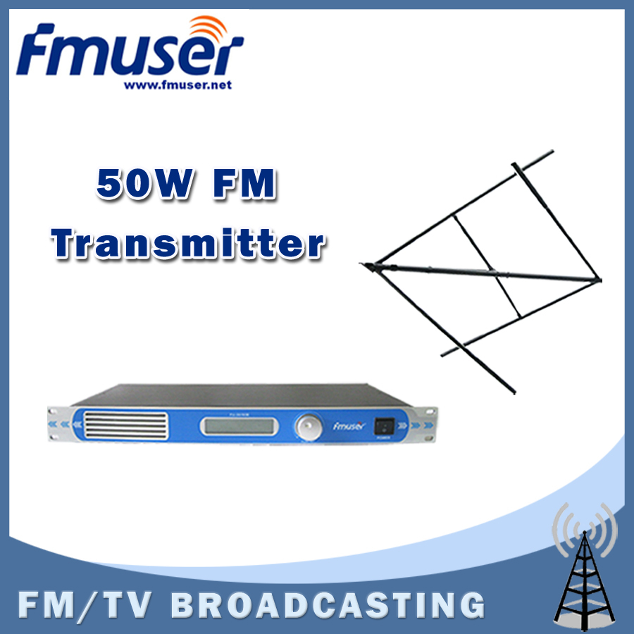 где купить  Free shipping FMUSER FU-30/50B 50W  FM transmitter 0-50w power adjustable FM radio broadcaster+Circular Polarized antenna kit  дешево