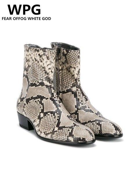 NIEUWE stijl Top kwaliteit designer golden Snake skin mannen schoenen luxe merk Chelsea mens westerse motorlaarzen schoenen
