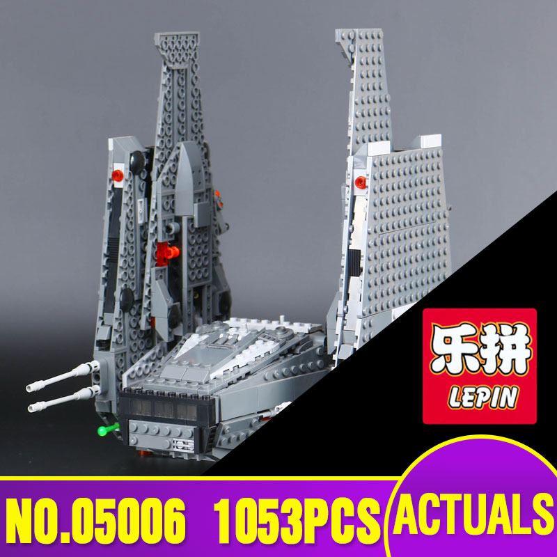 LEPIN 05006 Star Hot Sale 1053pcs Wars Kylo Ren Command Shuttle Educational Building Blocks Kid's Toys compatible Toys 75104 color metal 3d puzzle star wars millennium falcon for adult 2016 new batman flying wing kylo ren shuttle 3d nano jigsaw puzzles