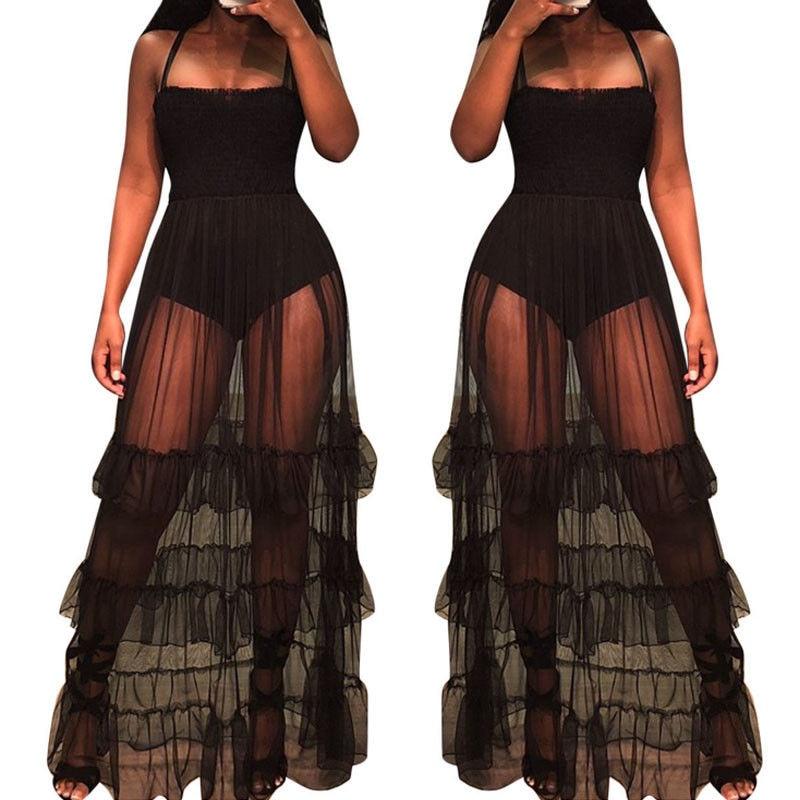Detail Feedback Questions about Women Beach See Through Dress Ruffle Hem  Sheer Dotted Mesh Spaghetti Strap Dresses Ladies Sexy Perspective Bodysuit  Beach ... 453dd9a06f1c