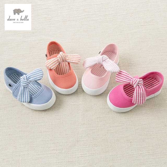 DB4719 Dave & Bella baby spring new striped canvas shoes blue pink rose  casual shoes 4