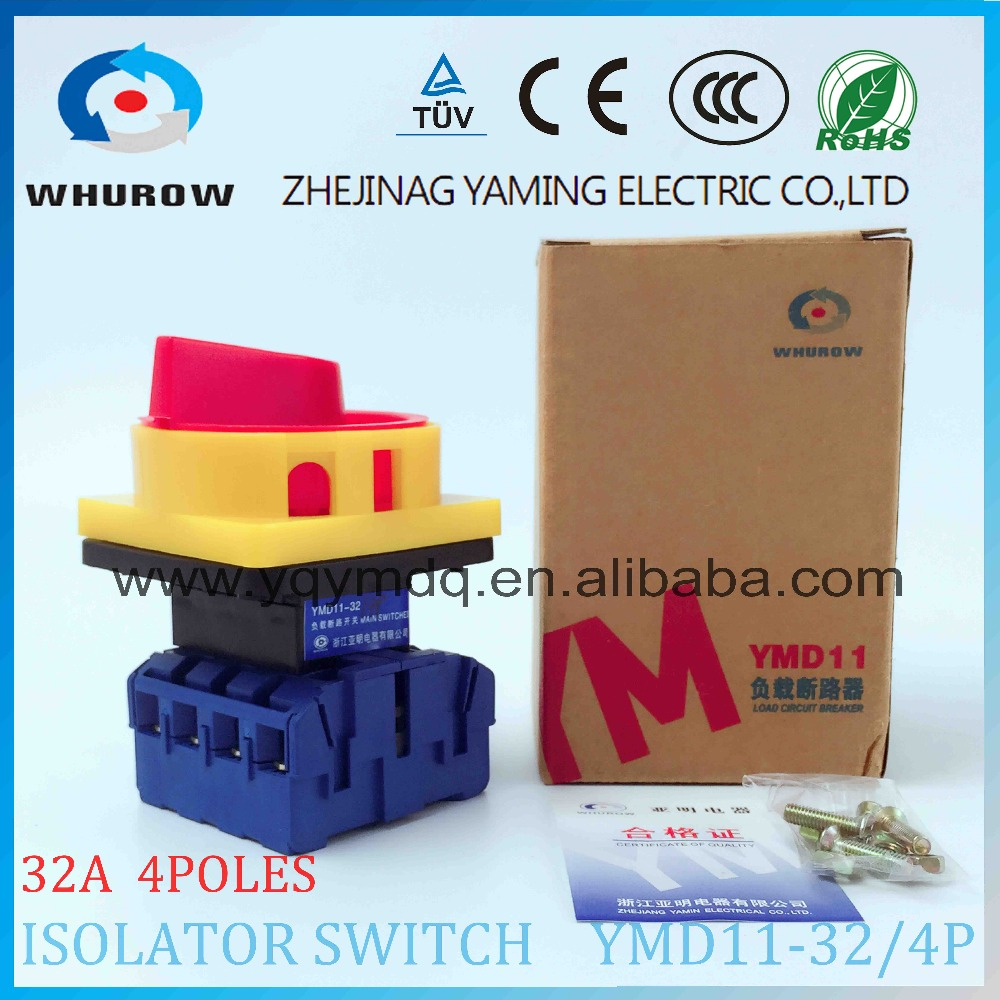 Isolator switch YMD11-32A 4P load break switch universal power cut off switch on-off changeover cam switch 8 sliver contacts original switch on off power