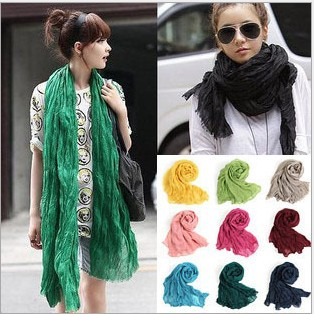 Fashion Women's Long Scarves Candy Colors Bali Yarn Solid Cotton Scarf Wraps Girl Shawls