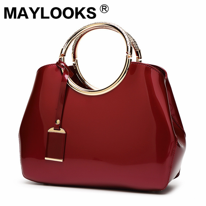 Red bride bag 2019 new fashion bright patent leather handbags handbags wild shoulder bag M-729Red bride bag 2019 new fashion bright patent leather handbags handbags wild shoulder bag M-729