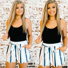 US Fashion Women Ladies High Waist Belt Summer Casual Loose Striped Beach Hot Shorts NEW