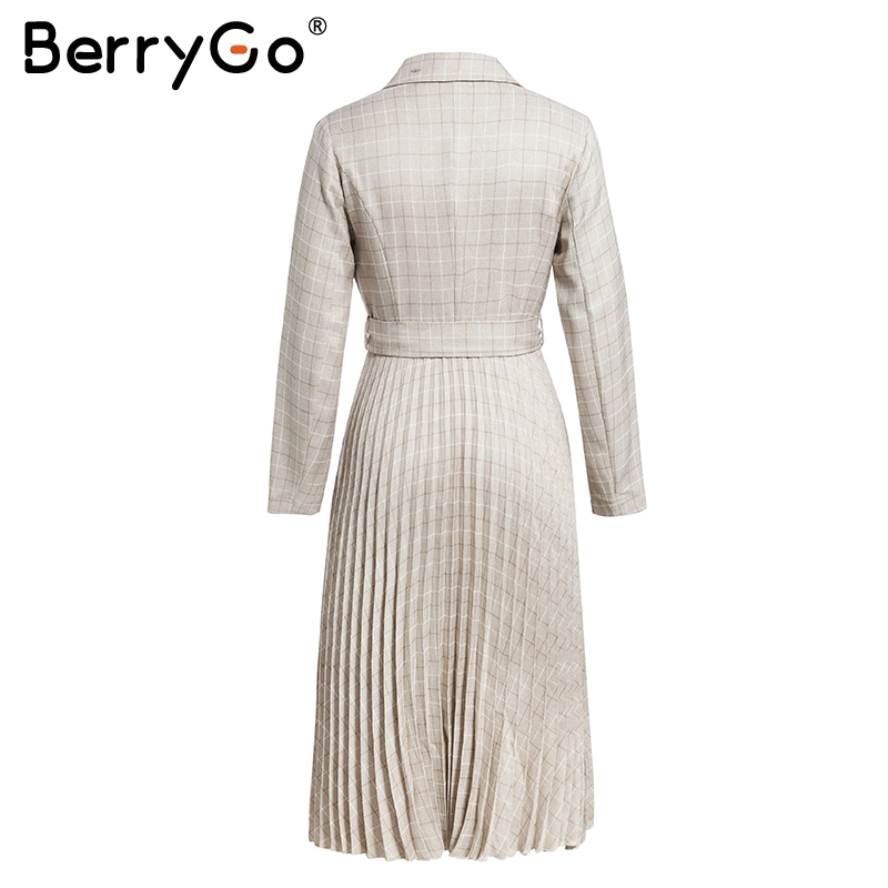 BerryGo Autumn winter women blazer dresses vestidos Pleated plaid long dress elegant Office ladies high waist belt female robe 10