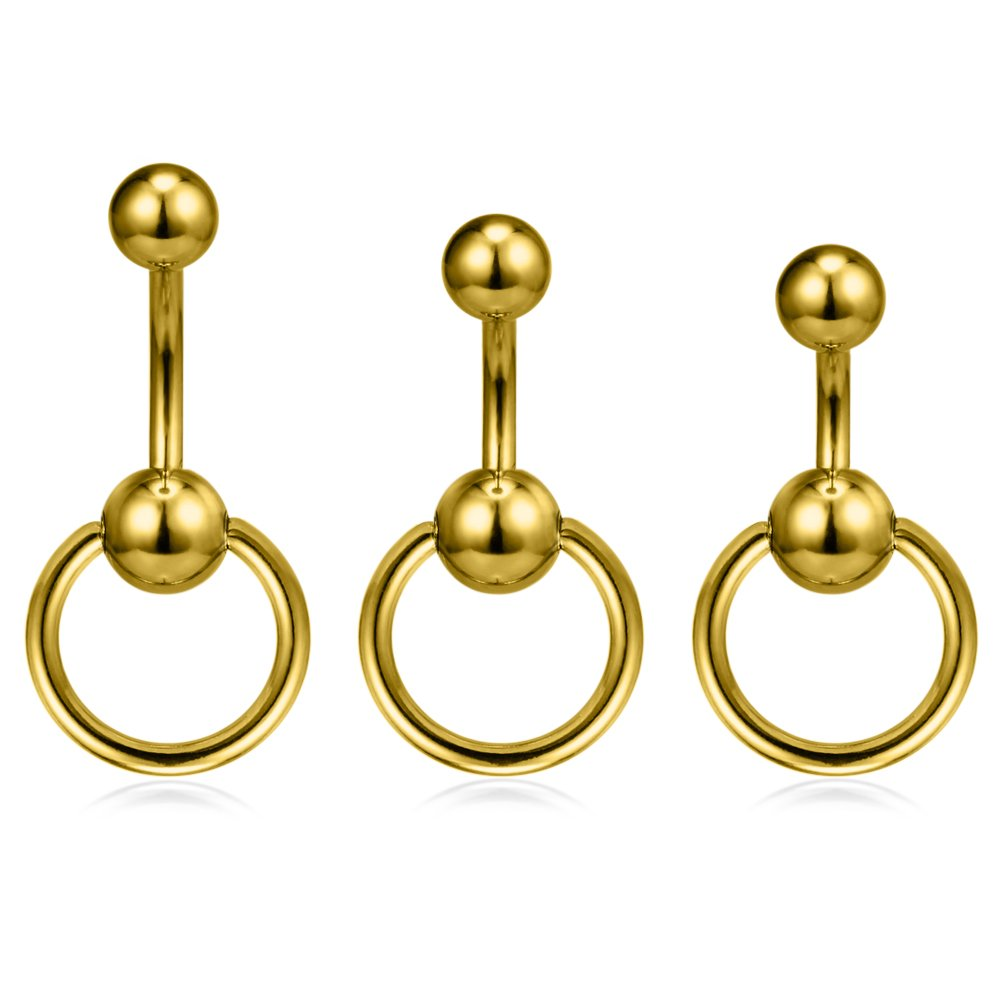 10mm Barbell, 4//4mm Balls 14g Curved Barbell Belly Gem on Both Sides 2pc