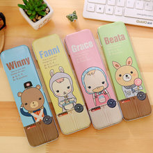 2018 New Cute Bear Metal Tin Cartoon Animals Iron Metal Pen Pencil Eraser Bags Case For Pen Stationery Coin Bags(China)