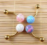2016 New 316L Surgical Steel 8 Mm Opal Belly Button Ring Navel Bar Piercing Nombril Ombligo