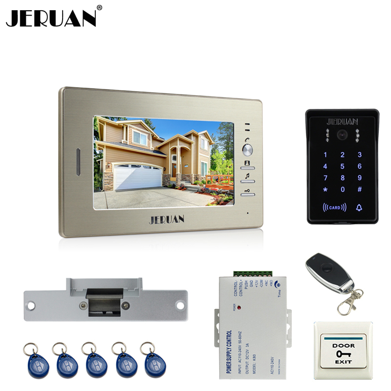 JERUAN 7 inch video door phone intercom system RFID brand new waterproof touch key password keypad camera +remote control unlock jeruan 8 inch tft video door phone record intercom system new rfid waterproof touch key password keypad camera 8g sd card e lock