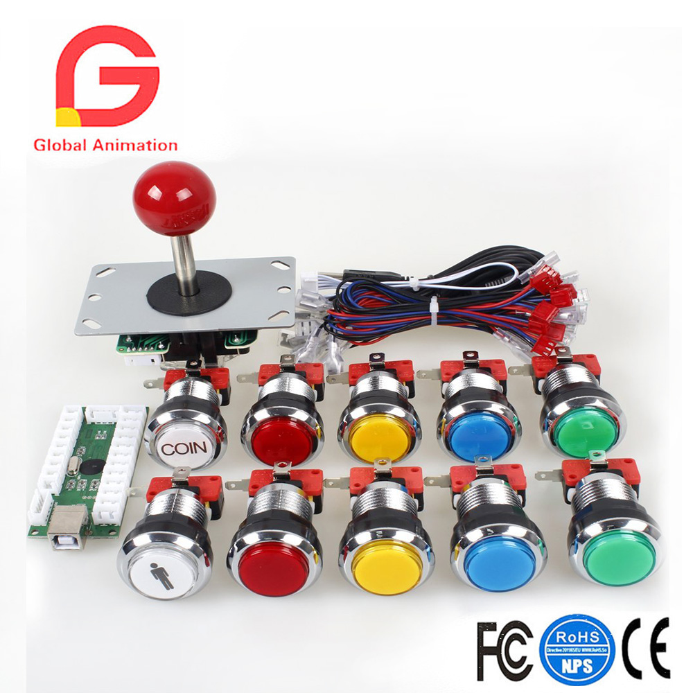 Classic Arcade DIY Kits USB Encoder To PC Joystick Game Chrome Plating LED Illuminated Push Button For Arcade Mame Raspberry Pi