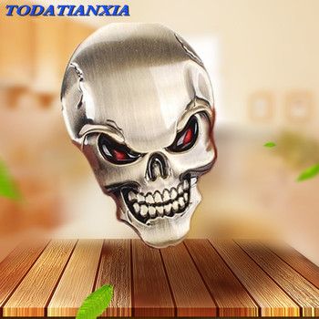 3D Metal Skull Car Sticker Logo Emblem Badge for vw insignia bmw e30 seat opel astra h audi a4 b8 citroen c4 for mazda w203 image