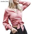 2016 Sexy V Neck Satin Elegan Partido Lanterna Manga Blusa Camisa Longa Blusa Menina Arco Brilhante Rosa Blusas Top Colheita