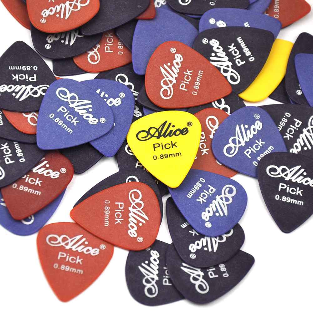 Купить с кэшбэком Lots of 100pcs Alice AP-T 0.89mm Delrin Guitar Picks Plectrums Mixed Colors