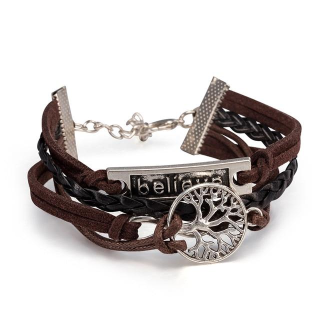 Punk Tree Of Life Bracelets Bangles Female Male White Gold Charms Leather Bracelet For Women Men