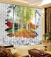 3D Printing Curtains Lifelike Room Decorations Blackout Cortians Beautiful Full Light Shading Bedroom Livng Room Curtain